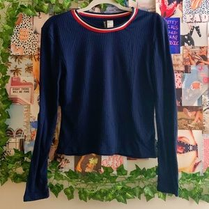H&M Blue Long Sleeve Top w/ Red & White Collar